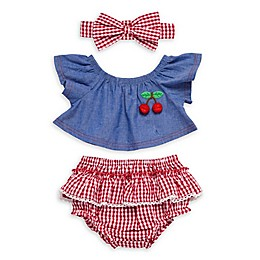Baby Starters® 3-Piece Cherry Swing Top, Ruffled Bloomer and Headband Set in Chambray