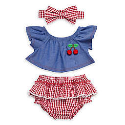 Baby Starters® Newborn 3-Piece Cherry Swing Top, Ruffled Bloomer and Headband Set