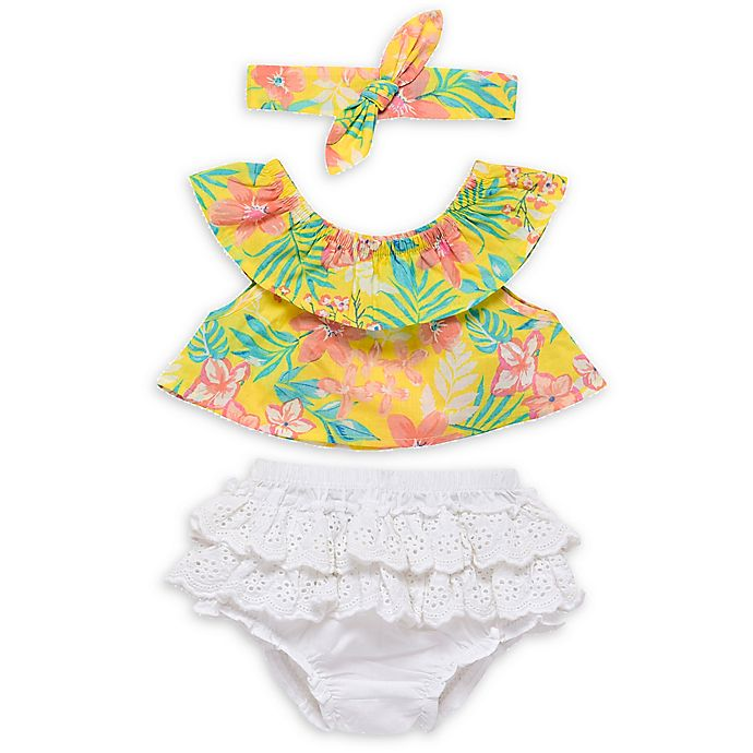 Alternate image 1 for Baby Starters® 3-Piece Tropical Floral Top, Diaper Cover and Headband Set