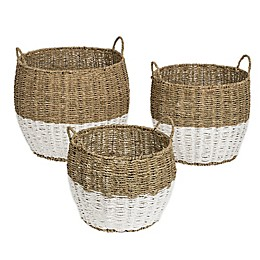 Honey-Can-Do® Round Seagrass Nesting Baskets in Natural//White (Set of 3)