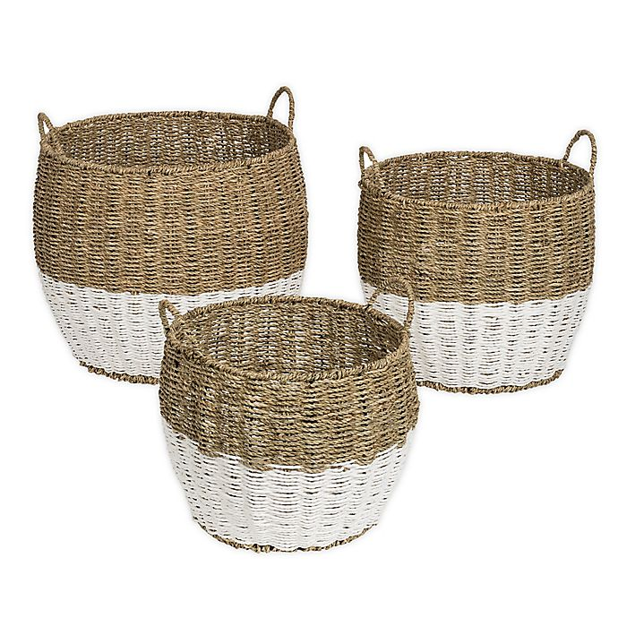 Alternate image 1 for Honey-Can-Do® Round Seagrass Nesting Baskets in Natural//White (Set of 3)