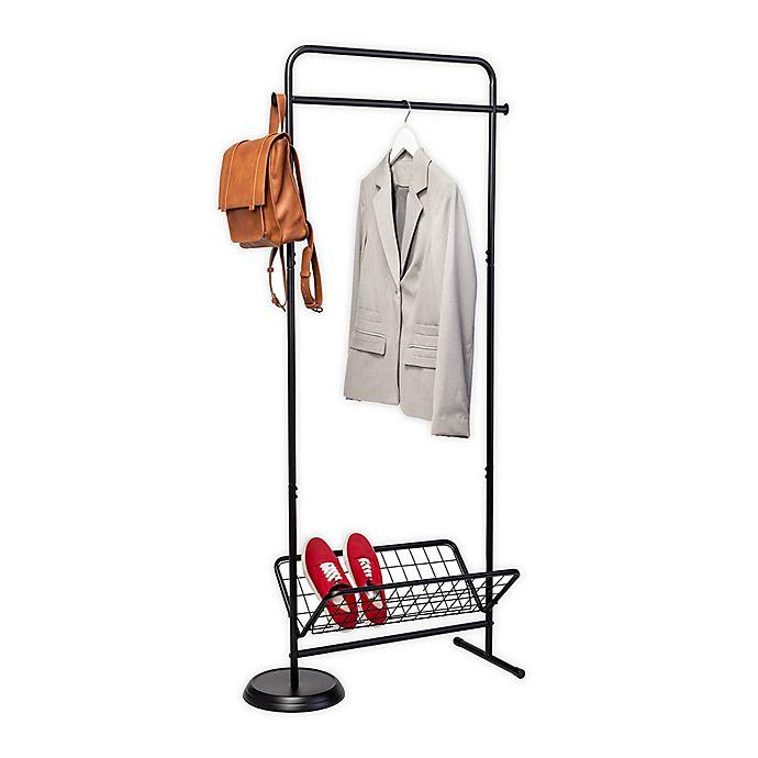 Alternate image 1 for Honey-Can-Do® Swivel Coat Rack Valet With Basket in Black