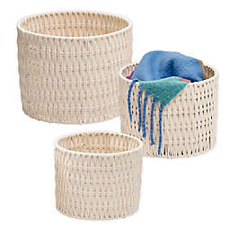 Honey-Can-Do® Round Rope Nesting Baskets in Natural//White (Set of 3)