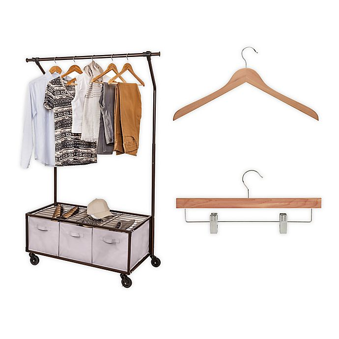 Alternate image 1 for Honey-Can-Do® Free Standing Closet with Garment Bar and Bins in Black/Natural