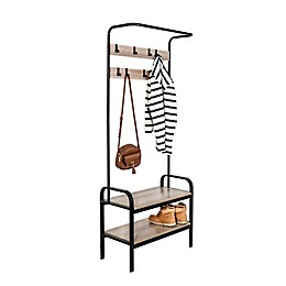 Honey-Can-Do® Entryway Organizer with Hooks and Shoe Storage in Wood/Black