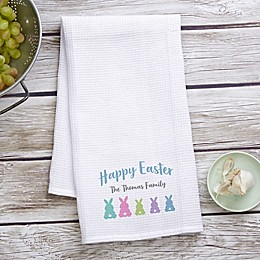 Easter Bunny Personalized Waffle Weave Kitchen Towel