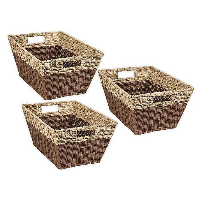 Alternate image 1 for Honey-Can-Do Rectangle 2-Color Nesting Baskets in Natural/Brown (Set of 3)