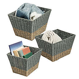 Honey-Can-Do Square 2-Color Nesting Baskets in Seagrass/Natural (Set of 3)