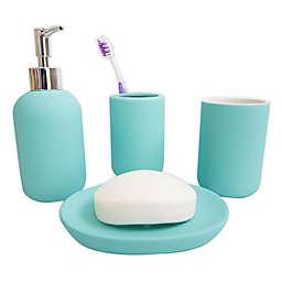 Rubberized Ceramic 4-Piece Bath Ensemble Set