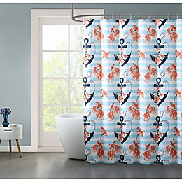 VCNY Home 72-Inch x 72-Inch Anchor Flowers Shower Curtain in Coral/Teal