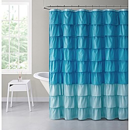 VCNY Home 72-Inch x 72-Inch Sally Ombre Ruffle Shower Curtain in Aqua