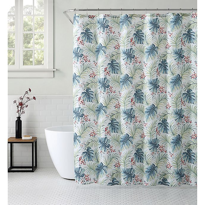Alternate image 1 for VCNY Home 72-Inch x 72-Inch Key West Tropical Shower Curtain in Blue/Green