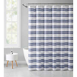 VCNY Home 72-Inch x 72-Inch Eyelet Stripe Shower Curtain in Navy