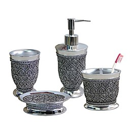 Nu Steel Beaded Heart 4-Piece Bath Accessory Set in Chrome