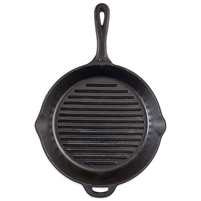 Alternate image 1 for Camp Chef 12-Inch Pre-Seasoned Round Cast Iron Ribbed Skillet in Black