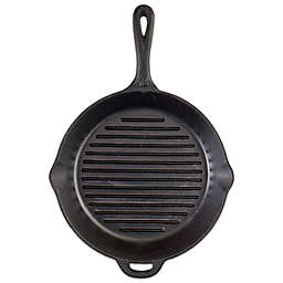 Camp Chef 12-Inch Pre-Seasoned Round Cast Iron Ribbed Skillet in Black