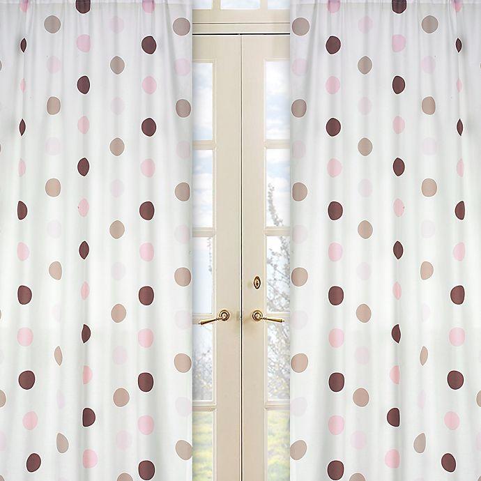 Alternate image 1 for Sweet Jojo Designs Mod Dots Window Curtain Panel Pair in Pink/Chocolate