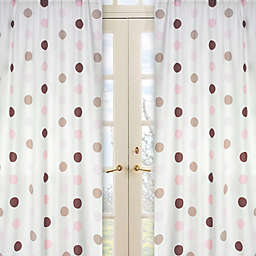 Sweet Jojo Designs Mod Dots Window Curtain Panel Pair in Pink/Chocolate
