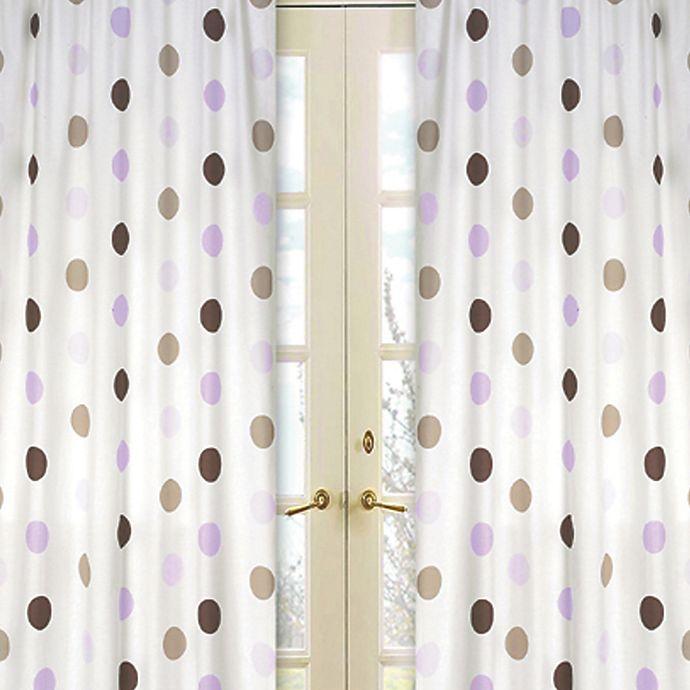 Alternate image 1 for Sweet Jojo Designs Mod Dots Window Panel Pair in Purple/Chocolate