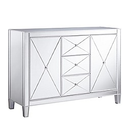 Southern Enterprises© Mirage 3-Drawer Mirrored Cabinet in Matte Silver