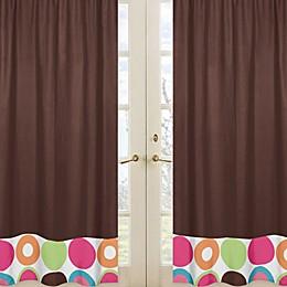 Sweet Jojo Designs Deco Dot Window Panel Pair in Chocolate
