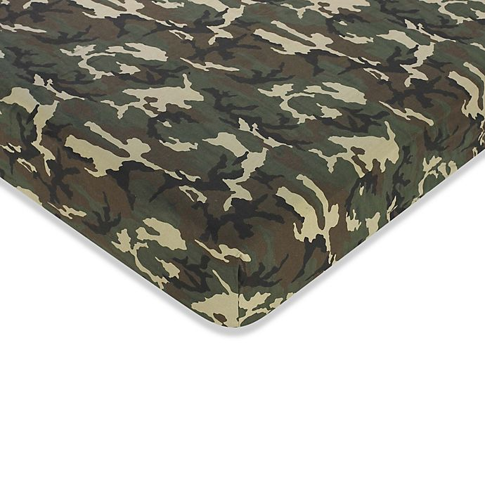 Alternate image 1 for Sweet Jojo Designs Camo Fitted Sheet in Green
