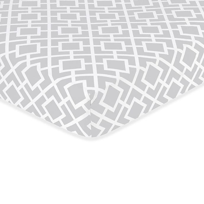 Alternate image 1 for Sweet Jojo Designs Diamond Crib Sheet in Grey/White
