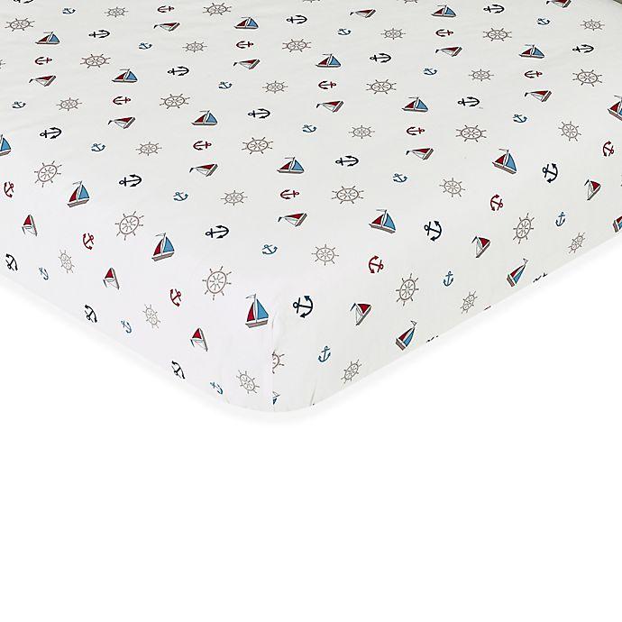 Alternate image 1 for Sweet Jojo Designs Nautical Nights Fitted Crib Sheet in Nautical Print