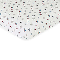 Sweet Jojo Designs Nautical Nights Fitted Crib Sheet in Nautical Print