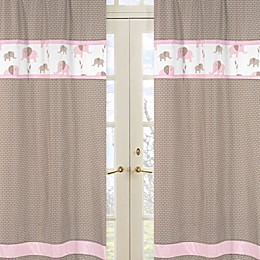 Sweet Jojo Designs Mod Elephant Window Panel Pair in Geo Print in Pink/Taupe