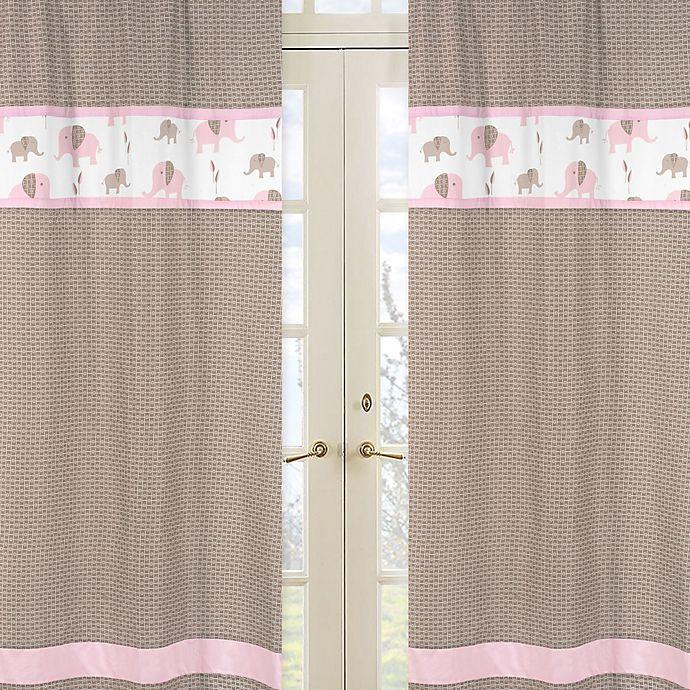 Alternate image 1 for Sweet Jojo Designs Mod Elephant Window Panel Pair in Geo Print in Pink/Taupe