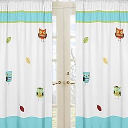 Sweet Jojo Designs® Hooty Window Panel Pair in Turquoise/Lime