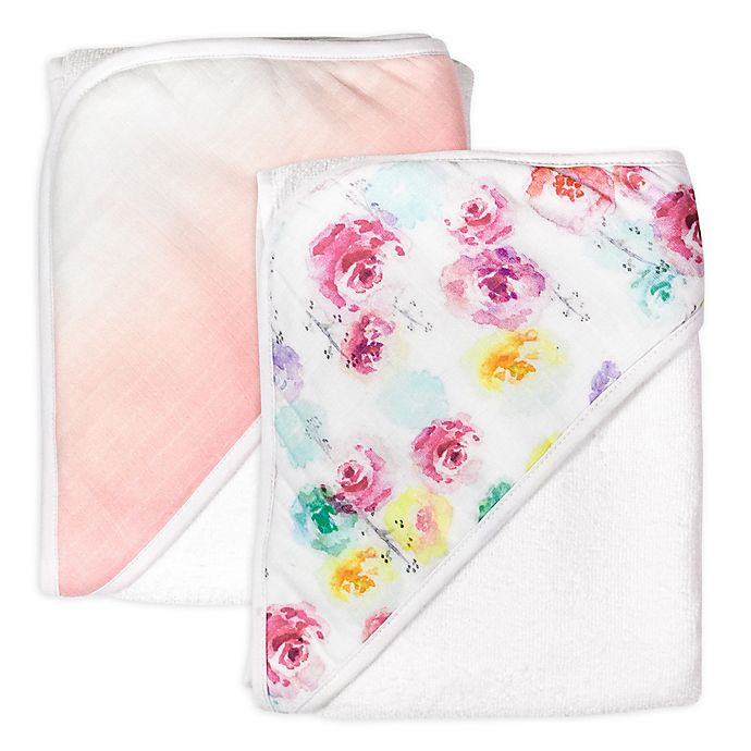 Alternate image 1 for The Honest Company® 2-Pack Rose Blossom Organic Cotton Hooded Towels