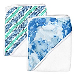 The Honest Company® 2-Pack Teal Tribal Hooded Towels