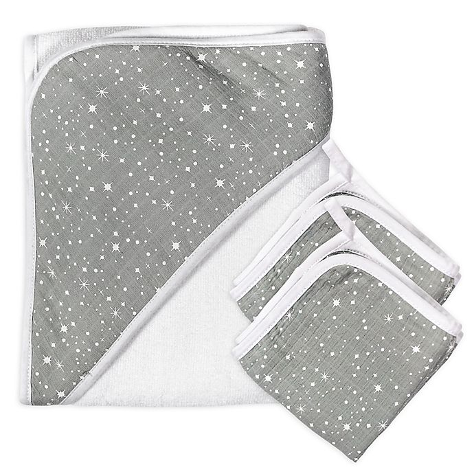 Alternate image 1 for The Honest Company® 3-Piece Twinkle Star Hooded Towel and Washcloth Set