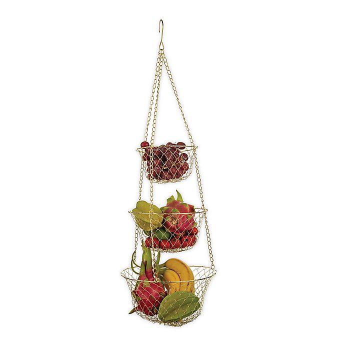 Alternate image 1 for Fox Run Brands™ 3-Tier Hanging Fruit Baskets in Gold