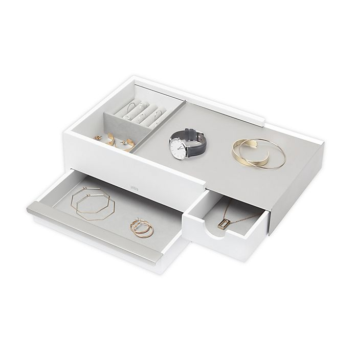 Alternate image 1 for Umbra® Stowit Jewelry Box in White/Nickel