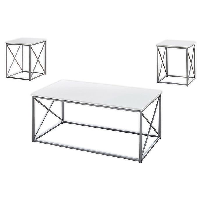 Alternate image 1 for Monarch Specialties 3-Piece Coffee Table Set in White