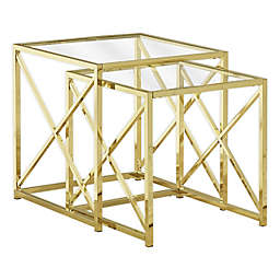 Monarch Specialities 2-Piece Tempered Glass Nesting Table in Gold