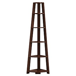Monarch Specialties Corner Accent Etagere Bookcase in Cherry