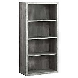 Monarch Specialties 4-Shelf Bookcase in Grey