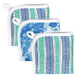 The Honest Company® 3-Pack Teal Tribal Washcloths
