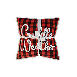 Cuddle Weather Square Throw Pillows in Red/Black (Set of 2)