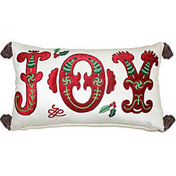 Joy Plush Oblong Throw Pillow in Ivory/Red
