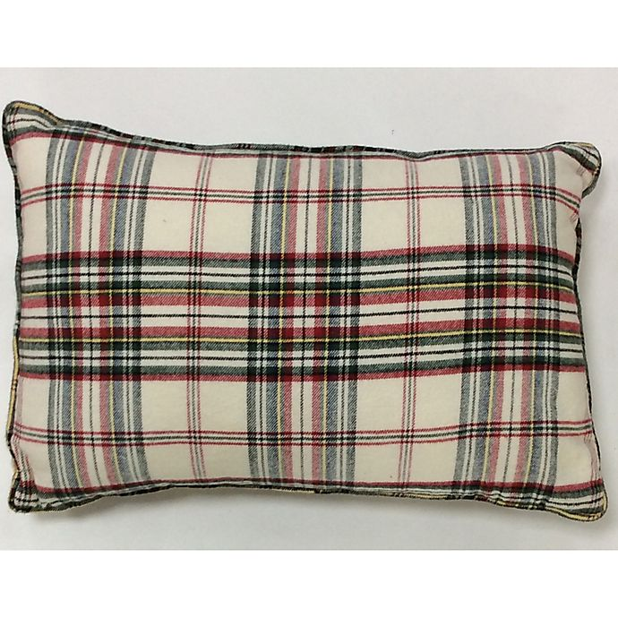 Alternate image 1 for Bee & Willow™ Home Plaid Oblong Throw Pillow in Ivory