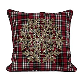 Beaded Snowflake Plaid Square Throw Pillow in Red