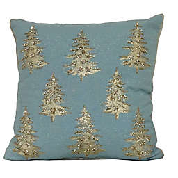 Beaded Tree Square Throw Pillow in Blue/Silver