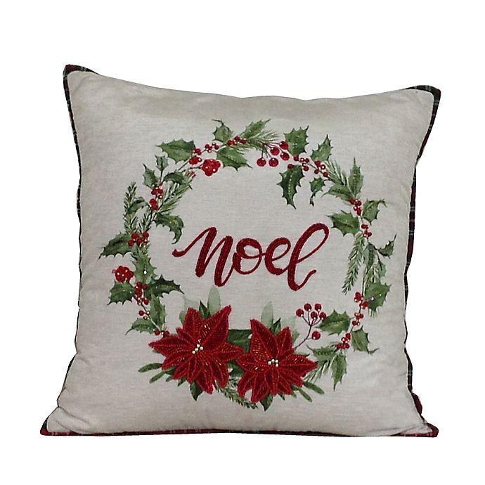Alternate image 1 for Wreath Noel Square Throw Pillow in White