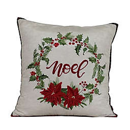 Wreath Noel Square Throw Pillow in White