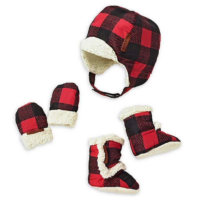 Alternate image 1 for JJ Cole's 5-piece Buffalo Check Bomber Hat, Mittens and Boots Set in Red/Black